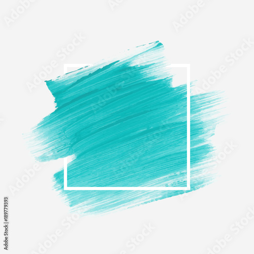 Fototapeta Logo brush painted acrylic abstract background design illustration vector over square frame