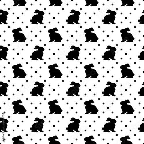 Wall Murals Cow Cute geometric Easter seamless pattern design with bunny and dots