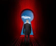 Doorway Revealing Cloudy Sky With Businessman Standing