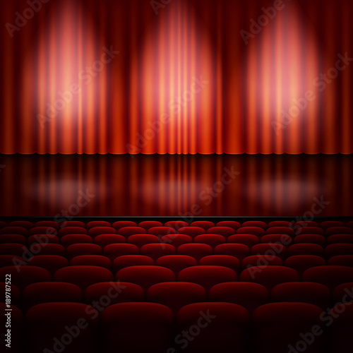 In de dag Theater Stage with red curtain. EPS 10 vector