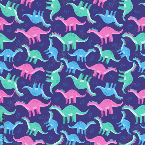Cotton fabric Cute colorful seamless pattern with dinosaurs on blue background. Bright background for kids. Vector illustration for textile manufacturing, notebooks etc