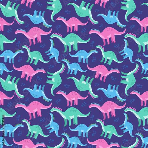 Materiał do szycia Ładny kolorowy wzór z dinozaurami na niebieskim tle. Jasne tło dla dzieci. Ilustracja wektorowa dla włókiennictwa, notatniki itp
