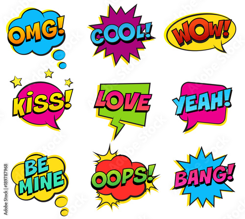 Photo  Retro colorful comic speech bubbles set on white background