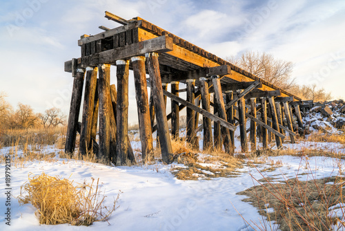 destroyed railroad timber trestle Canvas-taulu