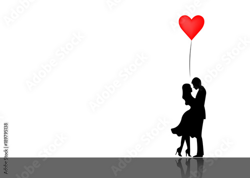Romantic silhouette of loving couple Canvas-taulu