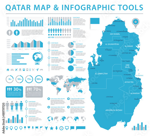 Qatar Map - Info Graphic Vector Illustration - Buy this ...