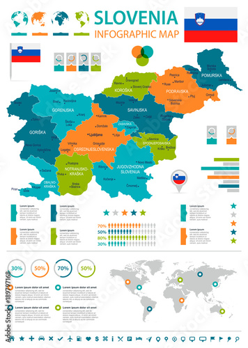 Fotografie, Obraz Slovenia - infographic map and flag - Detailed Vector Illustration
