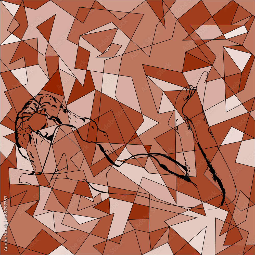 abstract vector picture of a profile of a female body