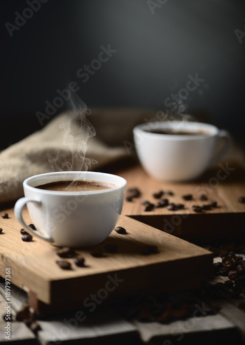 Spoed Foto op Canvas Cafe coffee cups and coffee beans