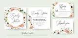 Fototapeta Kwiaty - Floral Wedding Invitation elegant invite, thank you, rsvp card vector Design: garden flower pink, peach Rose, white wax Anemone, green Eucalyptus tender greenery, berry bouquet, golden geometric frame