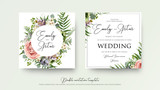 Fototapeta Kwiaty - Wedding floral invite invitation card Design with lavender pink violet garden rose, green tropical palm leaf greenery eucalyptus branches decoration. Vector elegant watercolor rustic cute template set