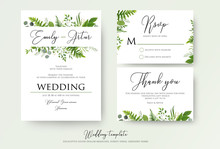 Wedding Invitation, Floral Invite, Thank You, Rsvp Modern Card Design: Green Fern Leaves Greenery, Eucalyptus Branches, Forest Foliage Decorative Frame Print. Vector Elegant Watercolor Rustic Template