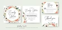 Floral Wedding Invitation Elegant Invite, Thank You, Rsvp Card Vector Design: Garden Flower Pink, Peach Rose, White Wax Anemone, Green Eucalyptus Tender Greenery, Berry Bouquet, Golden Geometric Frame