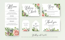 Wedding Floral Invite Thank You, Rsvp Label Cards Design With Lavender Pink Violet Garden Rose, Green Palm Leaf Greenery Eucalyptus Branches Decoration. Vector Elegant Watercolor Rustic Template Set