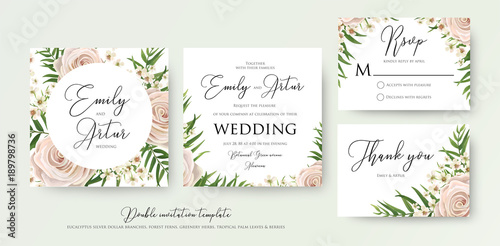 Wedding floral watercolor style double invite, rsvp, thank you card ...