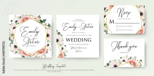 Floral Wedding Invitation Elegant Invite Thank You Rsvp