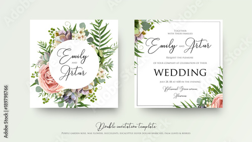 Wedding Floral Invite Invitation Card Design With Lavender