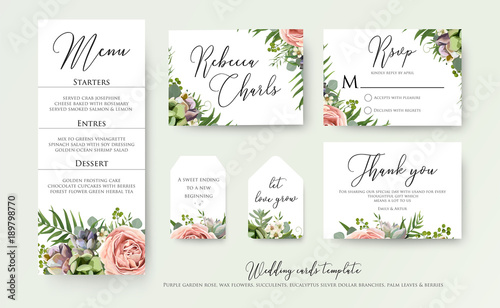 Wedding floral invite thank you rsvp label cards design with wedding floral invite thank you rsvp label cards design with lavender pink violet garden rose junglespirit Image collections