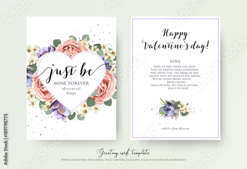 Obraz Vector floral card design with watercolor lavender garden pink rose,  violet succulents, eucalyptus branches and leaves. Lovely Valentine day greeting, invite, postcard. Heart shape frame & text space - fototapety do salonu
