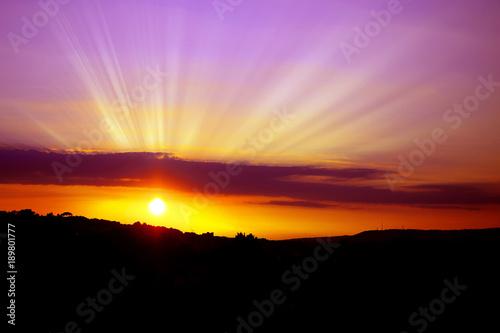 Fotografie, Tablou Rays of sun at sunset