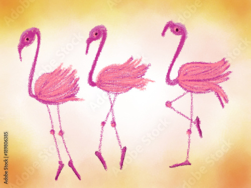 Canvas Prints Flamingo Bird Colorful drawn bright flamingos for greeting card or advertisement on blur orange background, cartoon illustration painted by pencil paper chalk, high quality