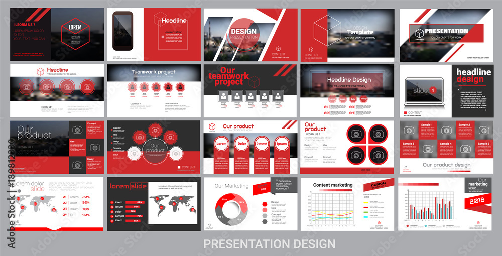 Fototapeta presentation template for promotion, advertising, flyer, brochure, product, report, banner, business, modern style on black and red background. vector illustration