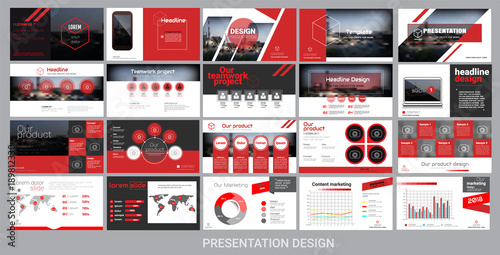 Obraz presentation template for promotion, advertising, flyer, brochure, product, report, banner, business, modern style on black and red background. vector illustration - fototapety do salonu