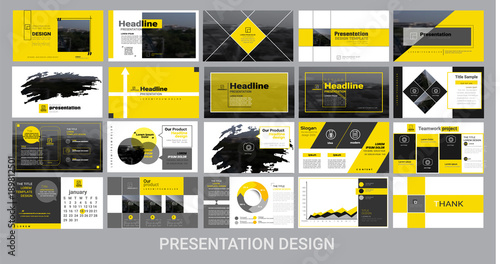 Fotografie, Obraz  presentation template for promotion, advertising, flyer, brochure, product, report, banner, business, modern style on black and yellow background