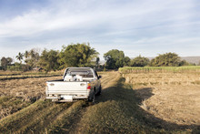 Truck On Field In Rural Agricu...