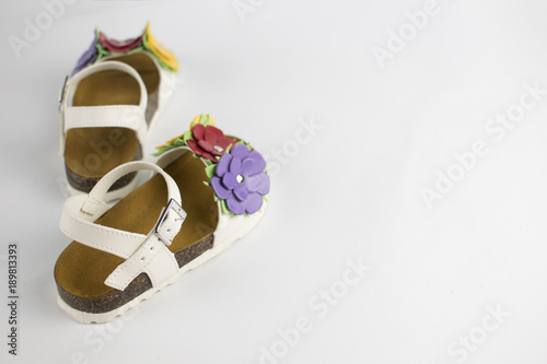 White Sandals With Flowers For Girls Buy This Stock Photo And