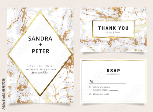 Marble Wedding Invitations Set Thank You Card Rsvp Place Cards Business
