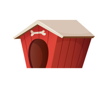 Red Cute Dog House. Cartoon St...