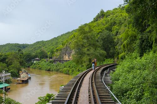 Valokuvatapetti Death Railway Old railway at Hellfire Pass in Kanchanaburi, Thailand