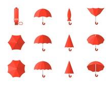 Red Umbrella Icon, Flat Design