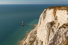 Beachy Head Lighthouse And Cliff, Near Eastbourne In East Sussex, England, UK