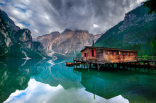 Spectacular Romantic Place With Typical Wooden Boats On The Alpine Lake,(Lago Di Braies) Braies Lake,Dolomites,South Tyrol,Italy,Europe