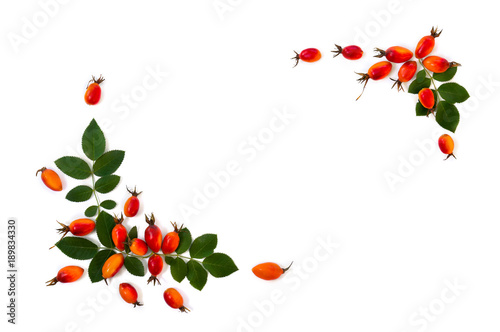 Fototapety, obrazy: Fresh red fruits dog rose, briar (Rosa rubiginosa, rose hips) with leaves on a white background. Top view, flat lay.