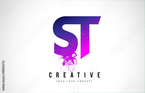 St S T Purple Letter Logo Design With Liquid Effect Flowing