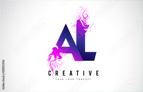 Photo AL A L Purple Letter Logo Design with Liquid Effect Flowing
