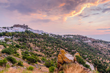 View Of Monastery Of St. John In Patmos Island, Dodecanese, Greece. Unesco Heritage Site. Sunset View.