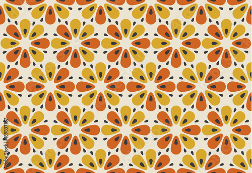 Retro orange and yellow color 60s flower motif Wallpaper Mural