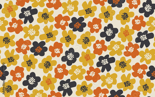 Photo Simple free drawn floral seamless pattern