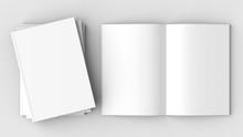 Brochure, Magazine, Book Or Catalog Mock Up Isolated On Soft Gray Background. 3D Illustrating.