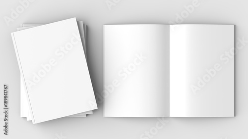 Fotografie, Obraz  Brochure, magazine, book or catalog mock up isolated on soft gray background