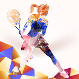 Illustration with girl playing in tennis from colorful pieces - 189843132
