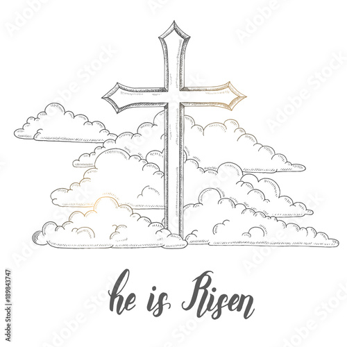 Greeting Easter Hand Made Trendy Lettering He Is Risen Isolated On
