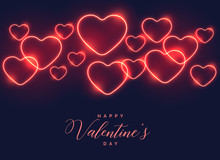 Blue Background With Red Neon Hearts