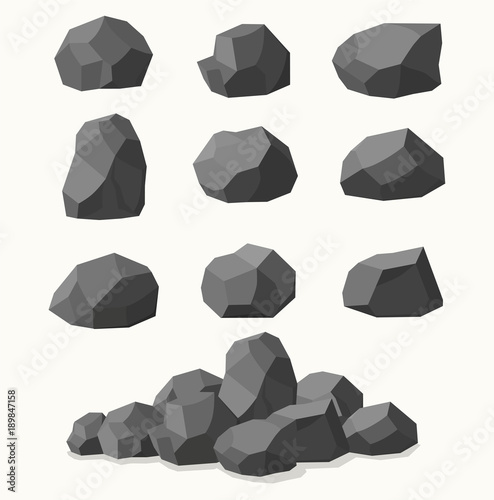 Pile of  stones, graphite coal. Fototapeta