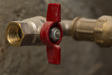 Closed Red Ball Valve Brass On...