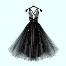 Beautiful Black Dress For Special Event. Vector Fashion Illustration